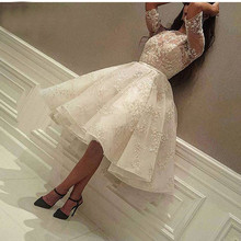 2019 Fashion Ivory Short Prom Dress Lace Applique Beads Half