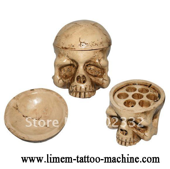 1pc Yellow Skull Tattoo Ink Cap Cup Holder Stand For Tattoo Ink Cup Tattoo Ink Pigment
