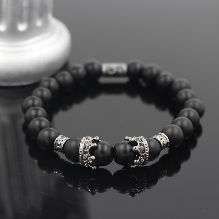 silver-imperial-crown-with-natural-stone-black-bracelet-1