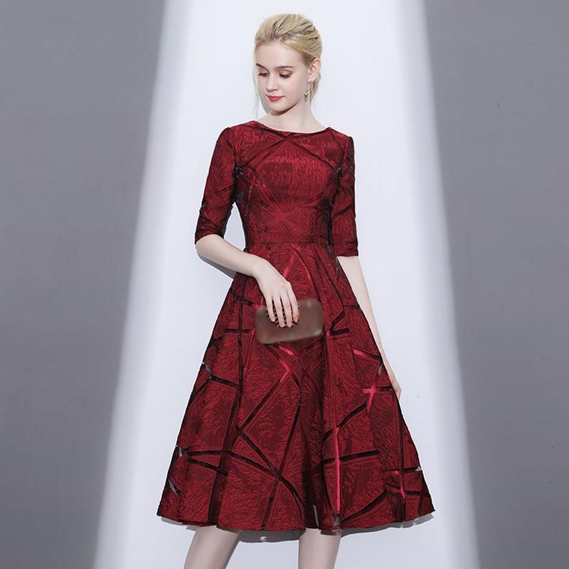 Robe de fille d'honneur A Line Half Sleeves Zipper Wine Red   Bridesmaid     Dresses   2019 Satin Color Prom   Dresses   Party Gowns