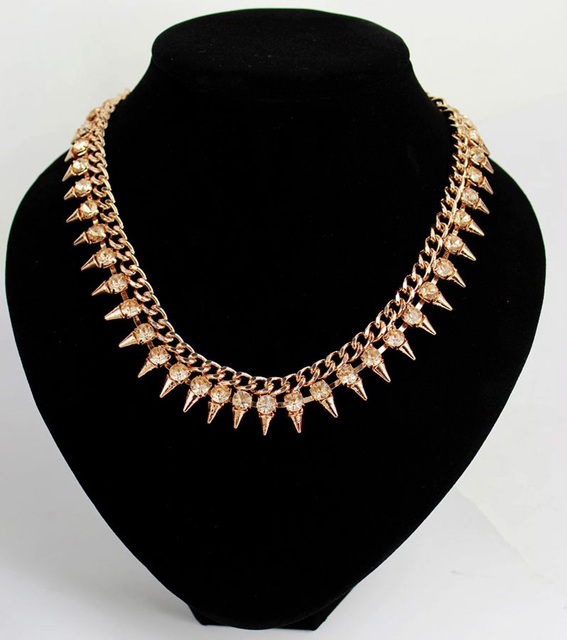 "Spike Necklaces Punk Gold Alloy Metal Rhinestone Cone Rivet Statement Chunky Collar 17"" Short Necklace for Women Fashion Jewelry"