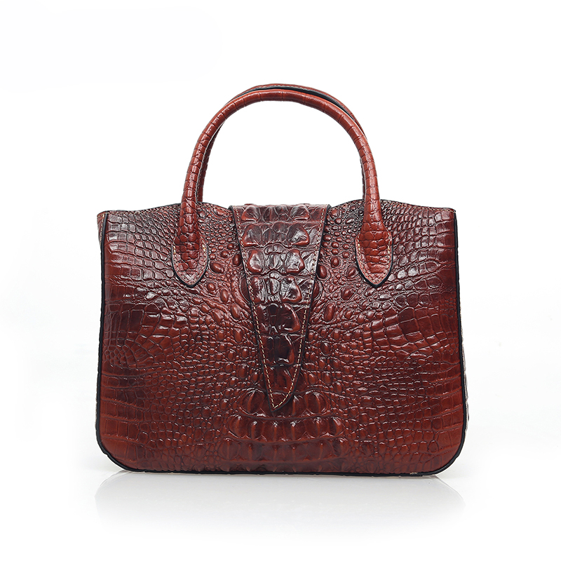 Women leather handbags high quality real cow genuine leather bags 2017 new fashion chinese style alligator shoulder tote bag designer handbags real cow genuine leather bags for women 2017 new smiley trapeze bag high quality alligator vintage totes bag