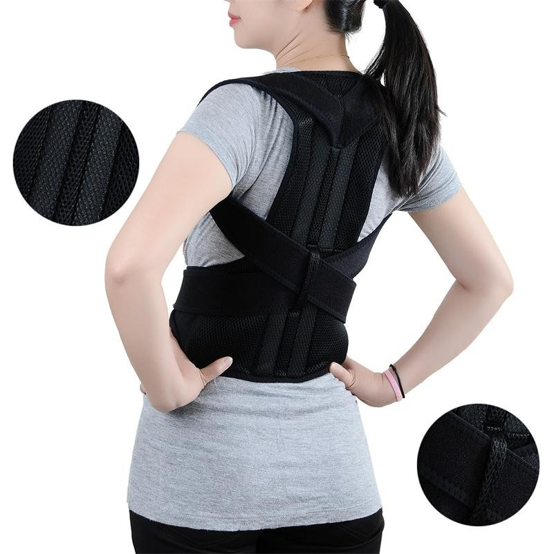 Adjustable Back Shoulder Posture Corrector Unisex Back Brace Support Belt Posture Correction Women Men Yong Black S-XXL B003
