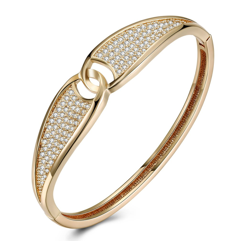 Trendy Intersect Ring Popular Jewelry Woman Bracelet Champagne Gold Luxury Zircon Bracelet For Party Engagement Gift KZCZ061-E