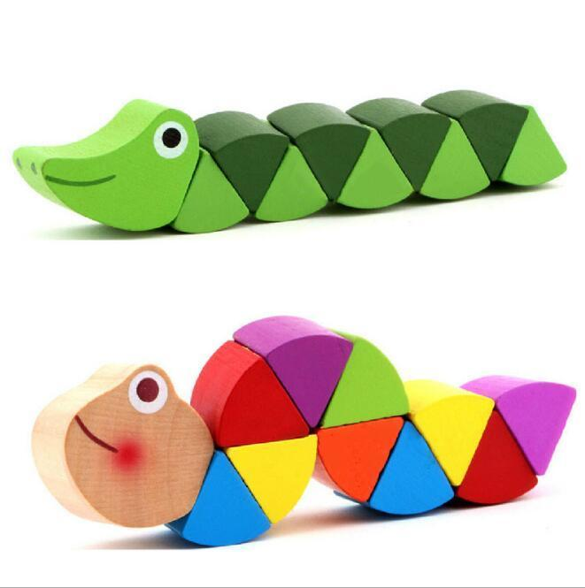 Colorful Wooden Baby Toy Transformable Caterpillar  Warm Colorful Early Educational Diy Toy For Kids Baby  Intelligence Develope