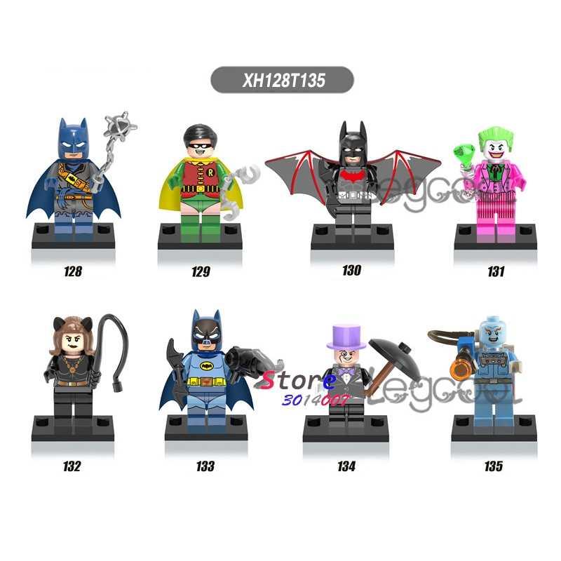 1 pçs modelo de blocos de construção super-herói pirata batman coringa catwoman pinguim senhor congelar brinquedos diy para as crianças presente