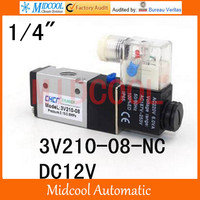 Free shipping 3V210 08 NO DC12V two tee pneumatic solenoid valve port 1/4