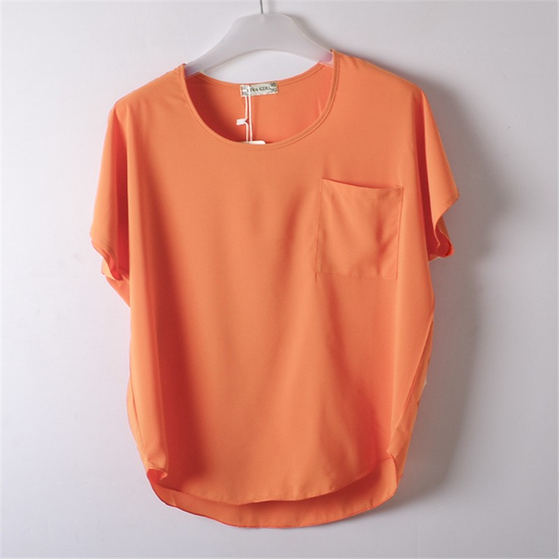 61e6ab1e8f6 Wine Red Summer Blouses Chiffon Shirt O Neck Short Sleeves Women ...