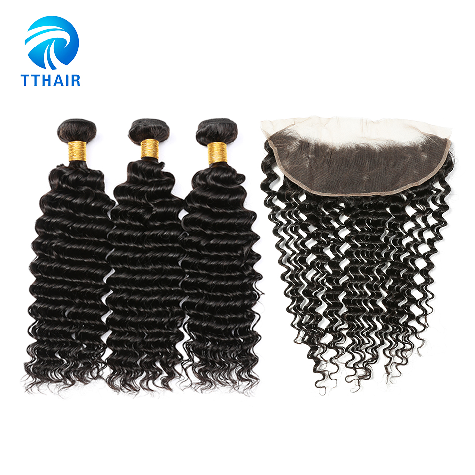 TTHAIR Deep Wave Bundles With Frontal Brazilian Hair Weave Bundles Remy Human Hair Extemnstion Bundles With