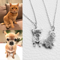 Custom Pet Photo Pendant Necklace Engraved Name 9990 Sterling Silver Dog Tag Necklace For Women Men
