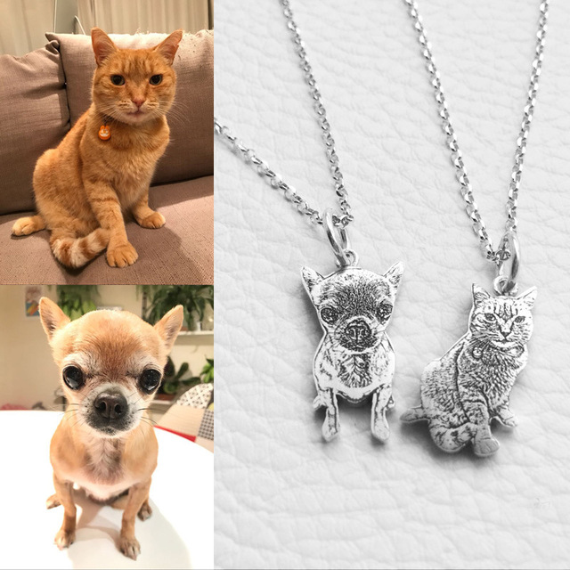 Custom Pet Photo Pendant Necklace Engraved Name 925 Sterling Silver Dog Tag Necklace for