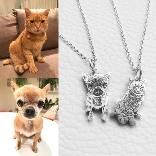 Personalizado foto colgante collar grabado nombre plata esterlina 925 Etiqueta de perro de collar para las mujeres los hombres Memorial mejor regalo de Navidad