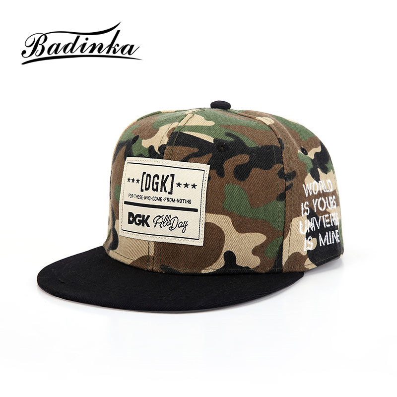 Badinka 2017 New Hip Hop Black Camouflage Baseball Hat Women Men Flat Adjustable Army Tactical Camo Snapback Cap Bone Casquette 2017 new brand fashion army camo baseball cap men women tactical sun hat letter adjustable camouflage casual snapback cap