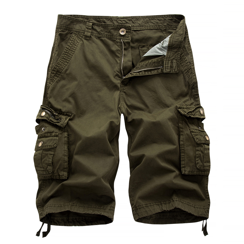 Fashion Mens Washed Cotton Long Capris Multi-Pockets Casual Cargo Shorts Summer Cargo Firetrap Military Cotton Knee Shorts Men