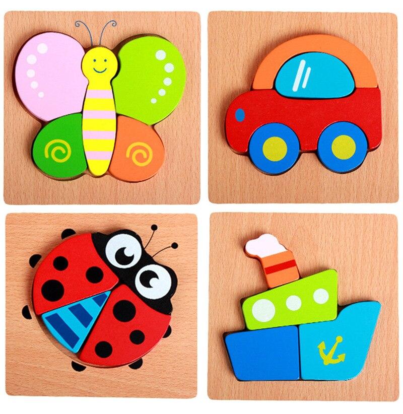 Howplay деревянные головоломки Детская рук захвата Puzzle игрушки, животные игрушки, мультфильмы развивающие игрушки, распознавание цвета