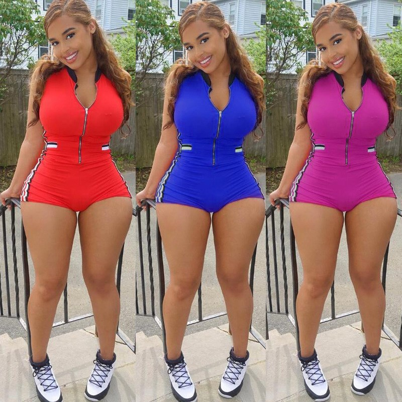 3 Colors 2018 Summer Stand Collar Zipper Striped Bodycon Jumpsuit Fitness Workout Bodysuit Shorts Playsuits Casual Rompers