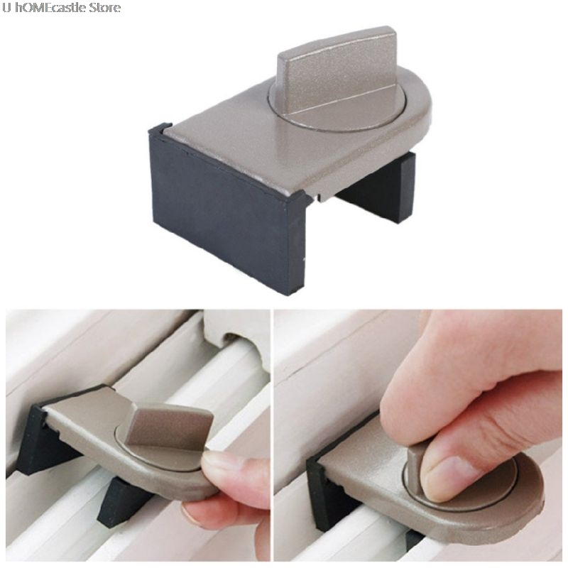 2Pcs Window Lock Sliding Sash Stopper Cabinet Position Limit Spacer Doors Security Anti-theft Lock Wedge With Rubber Cover