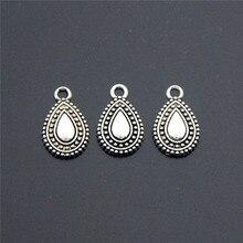 50 шт. новые античные серебряные подвески из сплава в форме капли воды ожерелья, браслеты, ювелирные изделия DIY A2284
