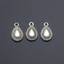 50PCS New Antique Silver Water Drop Alloy Charms Pendant Necklaces Bracelets Jewelry Finding DIY A2284(China)