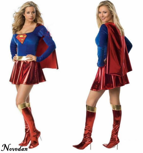 Adult Girls Superman Superwoman Halloween Costumes 2017 Super Woman Superhero Cosplay Supergirl Costume Sexy Fancy Dress-In Movie  Tv Costumes -4700