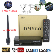 Satellite TV Receiver Decoder D3S HD DVB-S2 Receptor +1 Year 7 line Spain Portugal Europe Cline Account Support DVB-T2 +USB Wifi