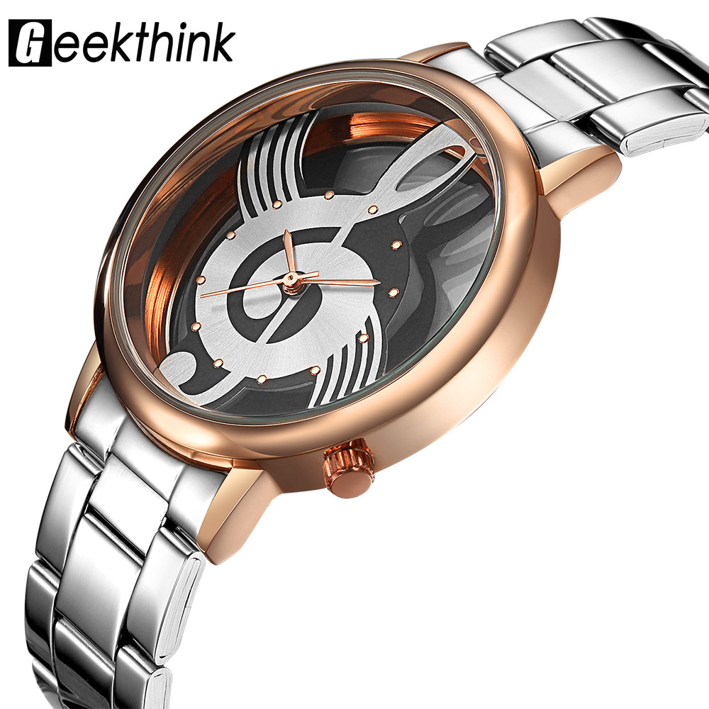 GEEKTHINK Hollow Quartz Watch Women Luxury Brand Gold Ladies Casual Classic Design Stainless steel Wristwatch Clock Female new