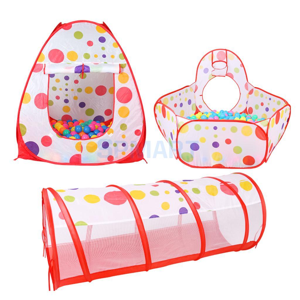 Pliage Pop Up 3-en-1 Cubique Tunnel Playhouse Balle Fosse Jouer Tente Enfant Intérieur et D'extérieur Jouet Jardin fun