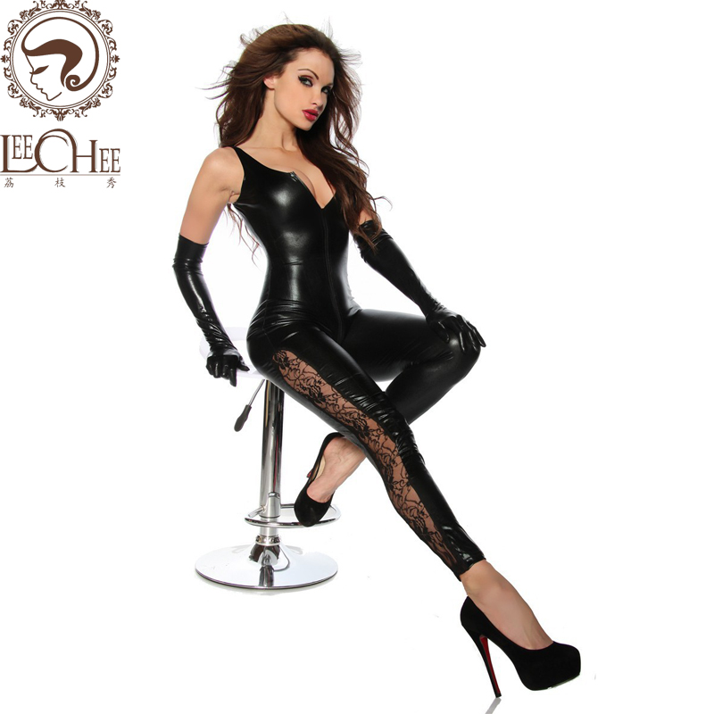 2017 Leechee Y015 Lady sexy lingerie PU leather tight SM uniform Black onesize slim bodystocking zip unneck Polyester/Satin