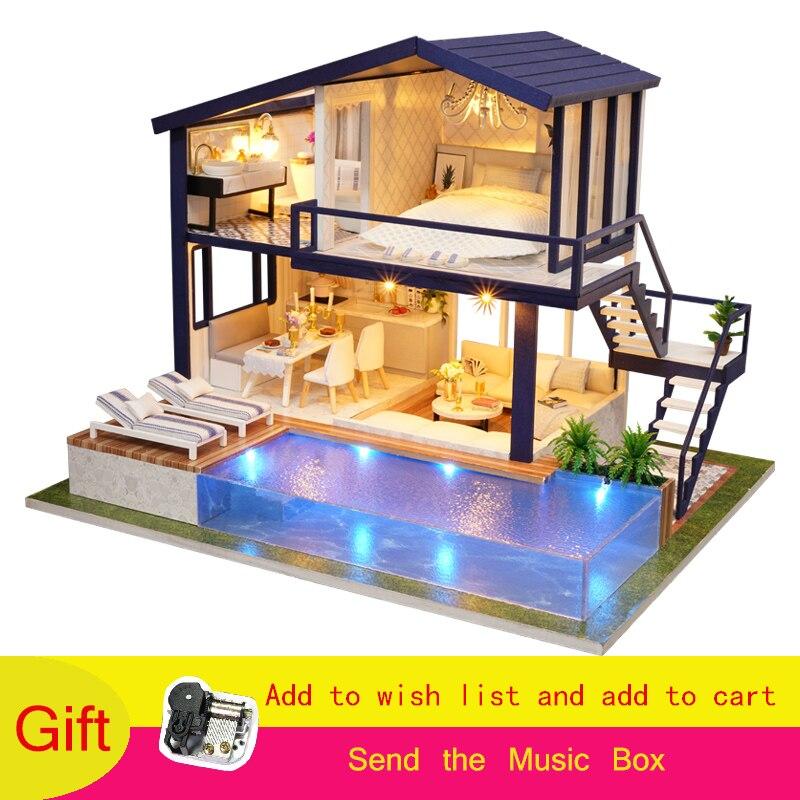 Cadeaux de noël Maison de Poupée Miniature Avec Des Meubles Dollhouse En Bois Jouets Pour Enfants Cadeau D'anniversaire Temps Appartement A-066