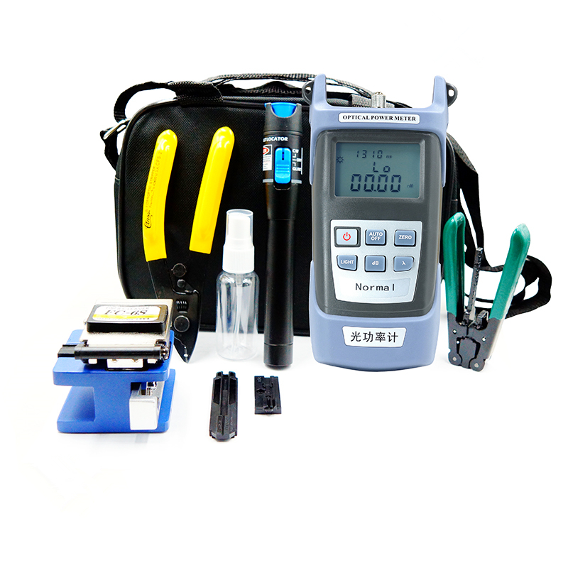 Ftth Fiber Optic Tool Kit With OPM FLV Fiber Cleaver Fiber Optic Stripper Optical Power Meter Visual Fault Lcator 5km