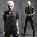 Men PU Leather Slim Vest Rivets Zippers Punk Rock Style Sleeveless Jacket Men Streetwear Locomotive Vest Waistcoat