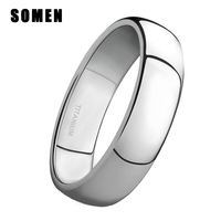 4 мм брендовые серебряные титановые женские кольца мужские обручальные кольца полированная отделка обручальное кольцо Простые Женские Юве...