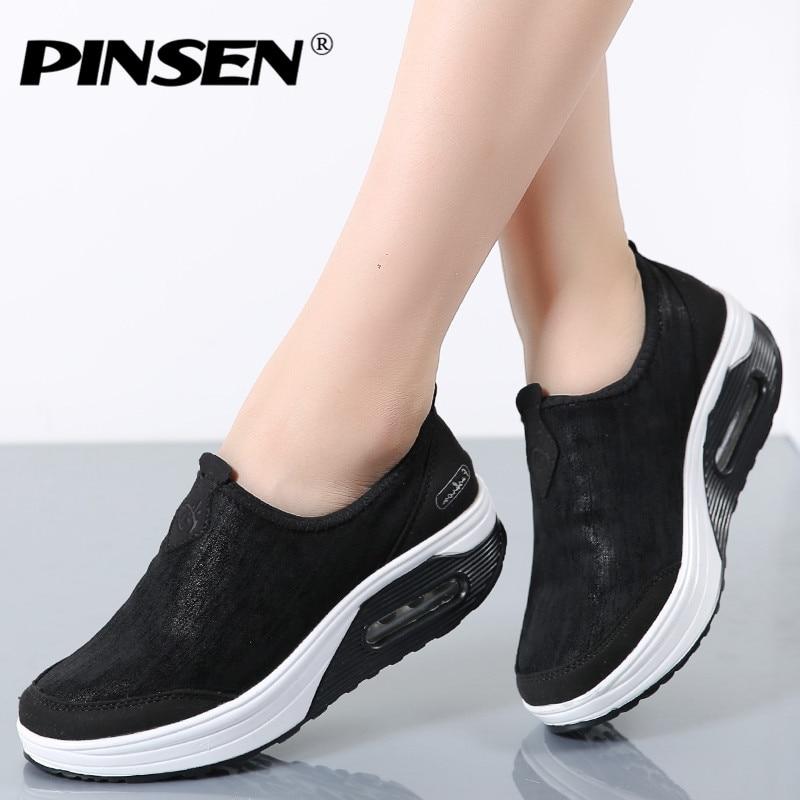 PINSEN 2019 Women Flat Platform Shoes Woman Winter With Fur Slip on Comfortab Warm Loafers Moccasins Platform creepers shoes Обувь