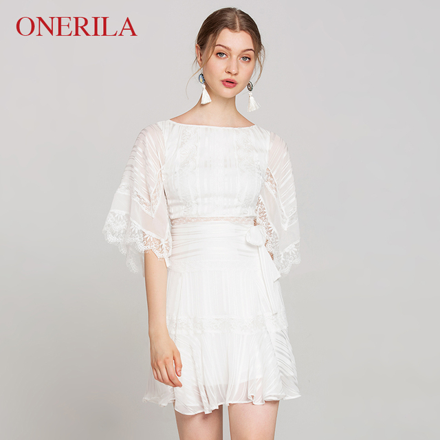 7435fc77945a1 US $94.0 |ONERILA Korean Style Elegant Women Party Wedding Festival Summer  Chiffon Dress 2018 A Line Half Sleeve Mini White Lace Dress-in Dresses from  ...