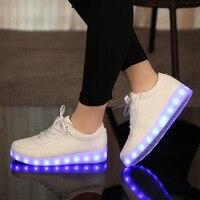 Summer Kid Led Shoes Flashing Light Up Colorful Lamp Luminous Board Shoe PU USB Charging White