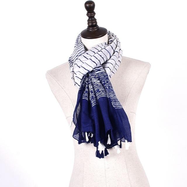 Blue Striped Tassels Scarves | Shawls & Wraps