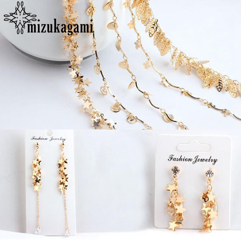 Golden Plated Stars Starfish Leaves Chain Tassel 50cm For DIY Fashion Earrings Tassel Jewelry Making Accessories