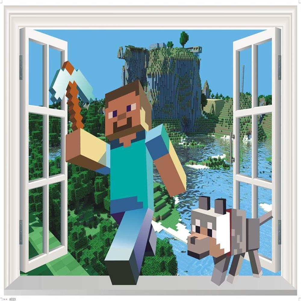 Aliexpress.com : Buy 2017 Newest 3D Minecraft Wall Stickers For Kids Rooms  Minecraft Steve Home Decor Popular Wallpaper Decals Games Mural Removable  From ... Part 95