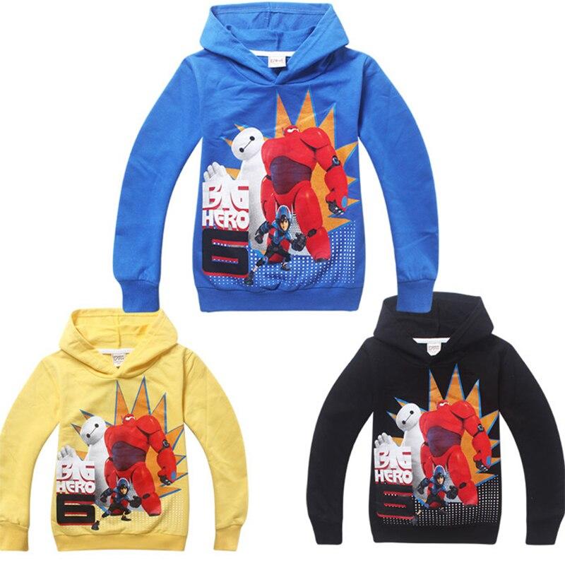 Big Hero 6 детская одежда хлопковая одежда для мальчиков футболка для девочек день рождения поставки Baymax рубашка с длинными рукавами Худи с Бэт...