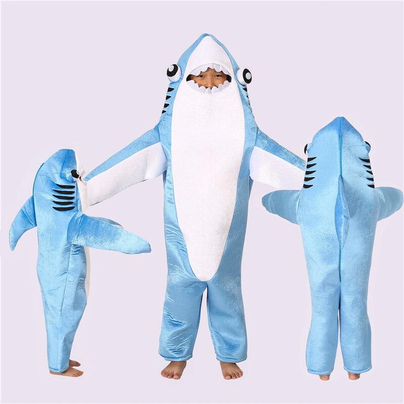 Requin costume cosplay Enfants Adultes Requin Stade Onesies Salopette Vêtements Halloween Costumes pour Accessoires de Performance Livraison Gratuite