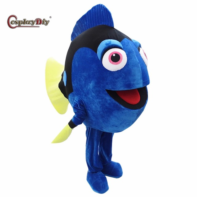 Cosplaydiy Finding Dory Mascot Costume Dory Blue Fish Mascot Costumes Halloween Carnival Birthday Party Adult Suit