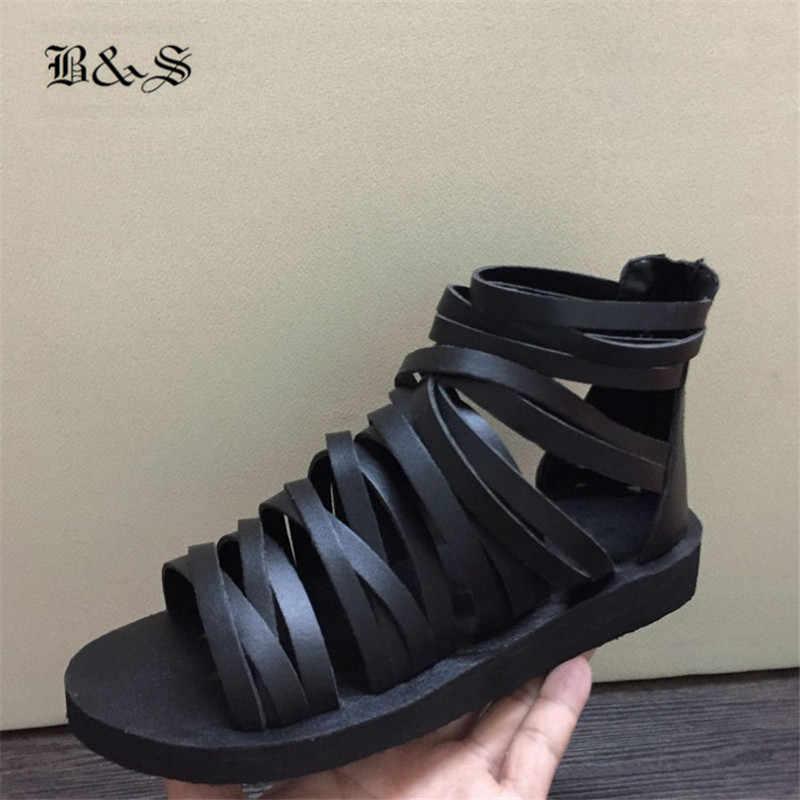 9832f2c36d72 ... Black  Street 2018 Summer Genuine Leather Cross-Tied Rome Gladiator Men  Sandals Luxury Handmade Sandals