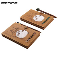 EZONE 1PC Cute Cartoon Planner Note Book Wooden Cover Diary Notepad Gifts School Office Stationery Supplies