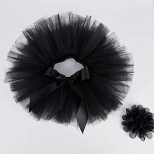 Черная пушистая юбка-пачка и повязка на голову для маленьких девочек, комплект для новорожденных, костюм для фотосессии, фатиновая юбка-пачка на день рождения для детей 0-12 месяцев
