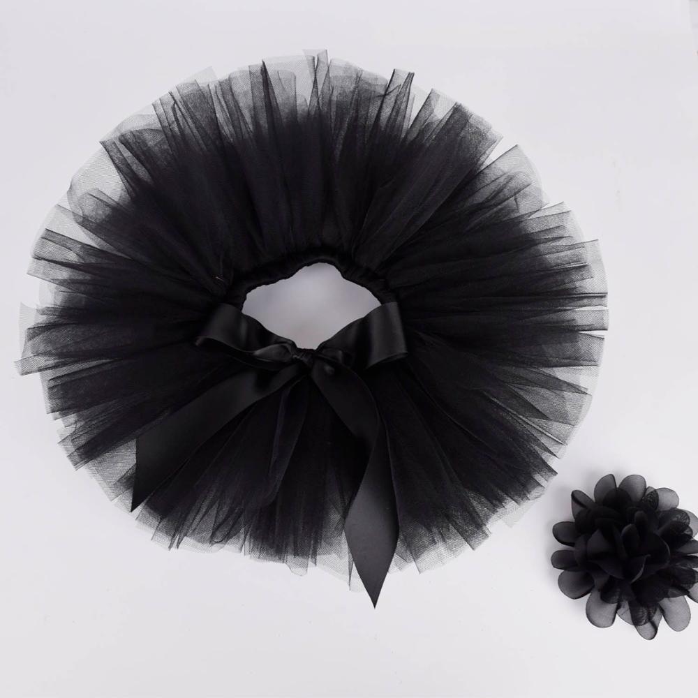 Black Baby Girls Fluffy Tutu Skirt & Headband Set Newborn Photo Prop Costume Infant Birthday Tulle Tutus Outfit  For 0-12M