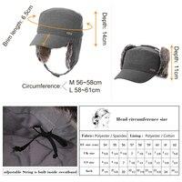 FANCET зима Военная шапка женская мужская кепка хлопок человек женщина Плоский верх колос защита Защита для ушей Согревать регулируемый Военная шляпа 99707