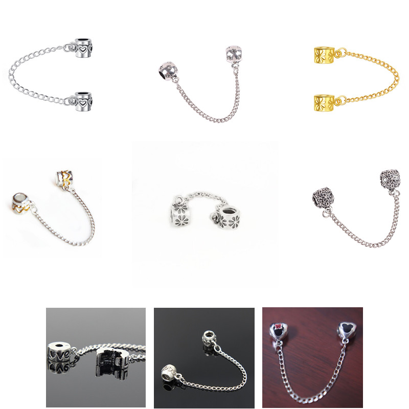 Beads Zmzy Pure Original 925 Sterling Silver Charm Tight Rubber Cute Safety Chain Beads Fit Snake Chain Bracelet Women Jewelry Gift Beads & Jewelry Making