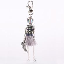 YLWHJJ new women cute rhinestone doll keychain tassel multicolor popular princess Pendant Girls Car key chains Fashion jewelry