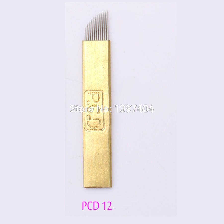 Free 500Pcs PCD Coper 12 Pin Tattoo Needle Manufacturer Disposable Permanent Makeup Blade For 3D Eyebrow