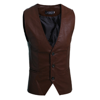 Brown Black Mens Vest New 2017 Brand Clothing Slim Fit Sleeveless Jackets Men Solid PU Leahter Fashion Waistcoat Male M-XL Sale